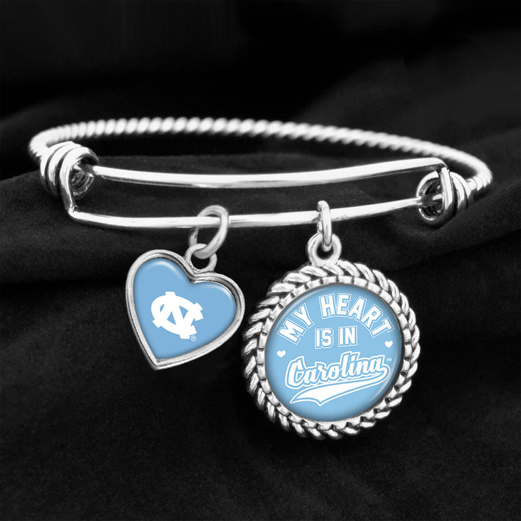 My Heart Is In UNC Tar Heels Charm Bracelet