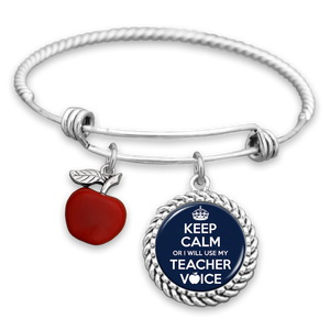 Keep Calm Or I Will Use My Teacher Voice Charm Bracelet
