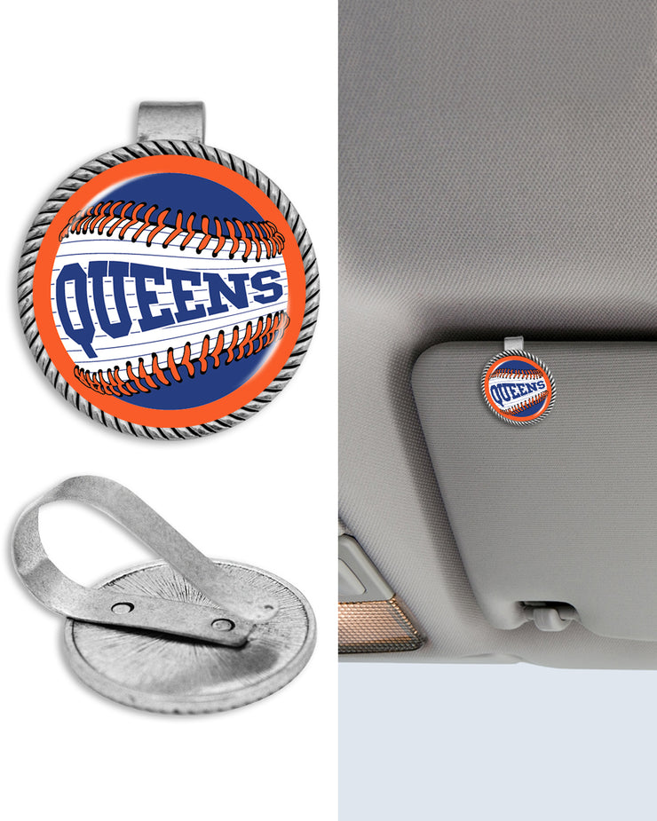 "New York ""Queens"" Baseball Circle Auto Visor Clip"