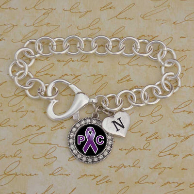Pancreatic Cancer Custom Initial Heart Bracelet