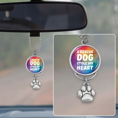 A Rescue Dog Stole My Heart Rearview Mirror Charm