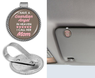Guardian Angel In Heaven Mom Circle Auto Visor Clip