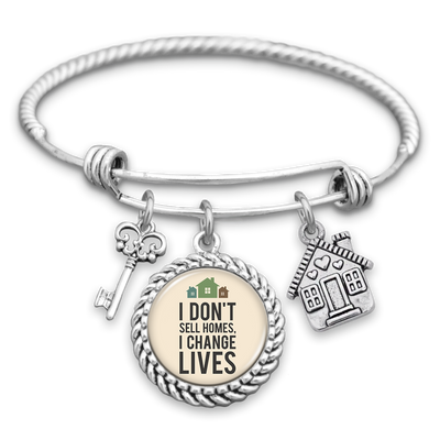 I Don't Sell Homes, I Change Lives House & Key Charm Bracelet