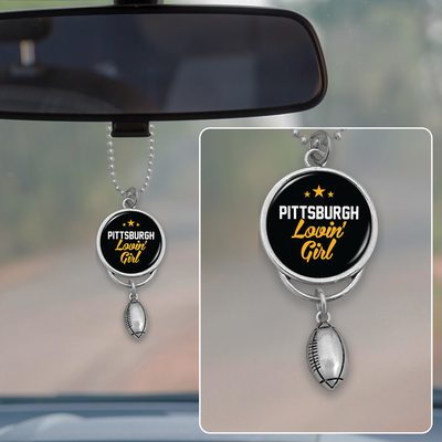 Pittsburgh Lovin' Girl Football Rearview Mirror Charm