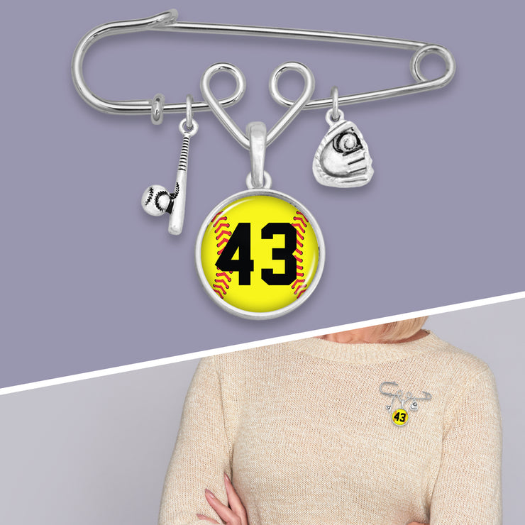 Softball Personalized Number Safety Pin Charm Brooch