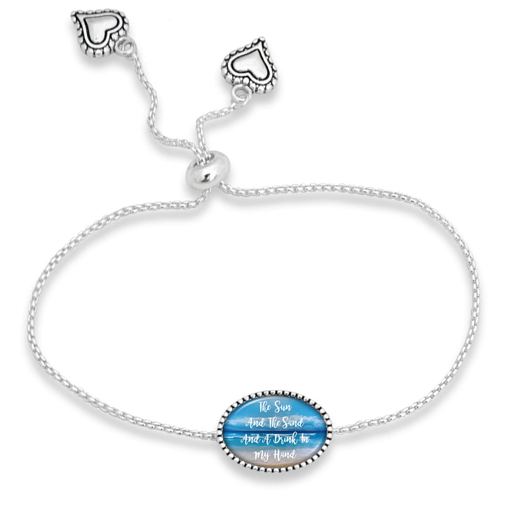 The Sun And The Sand And A Drink In My Hand Adjustable Oval Bracelet