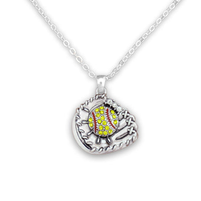 Softball Glove Charm Necklace