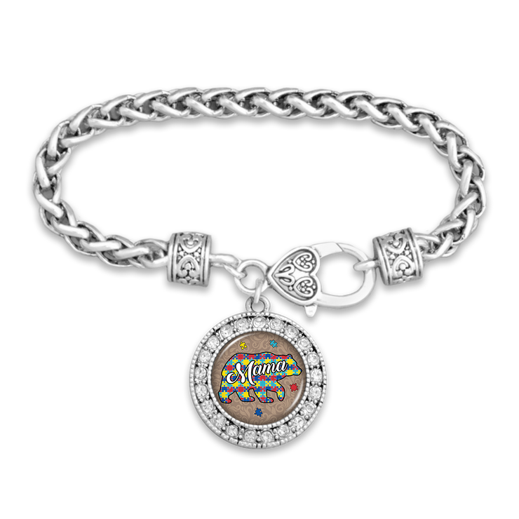 Autism Awareness Mama Bear Silver Braided Bracelet