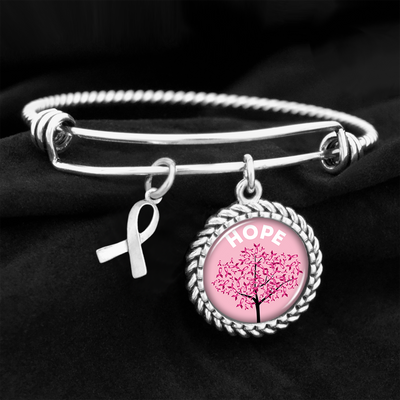 Hope Tree Breast Cancer Awareness Charm Bracelet