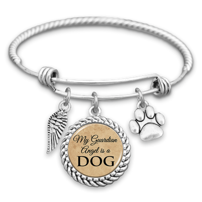 My Guardian Angel Is A Dog Charm Bracelet