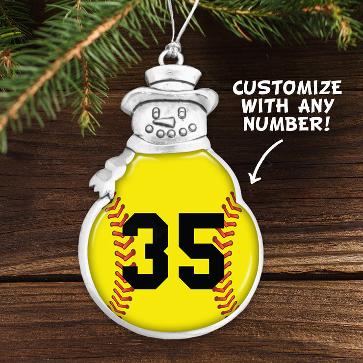 Customizable Softball Number Snowman Ornament