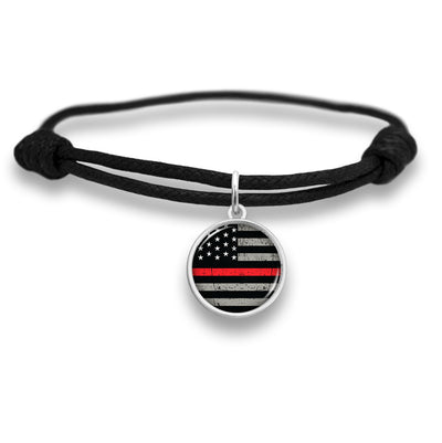 Thin Red Line Flag Adjustable Faux Leather Charm Bracelet