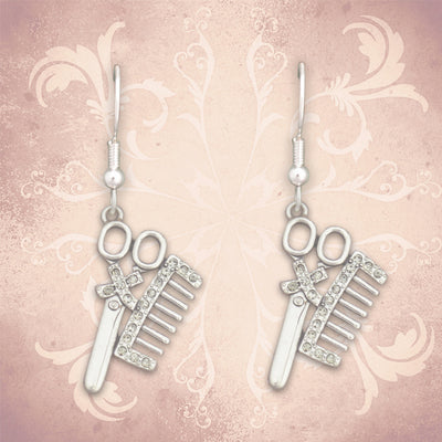Hairdresser Scissor & Comb Charm Earrings