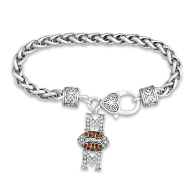 Crystal Football Mom Silver Braided Clasp Charm Bracelet