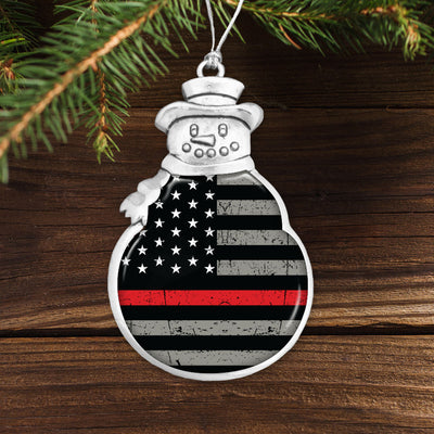 Thin Red Line Flag Snowman Ornament