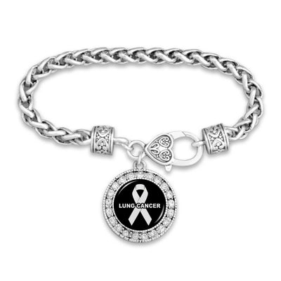 Lung Cancer Awareness Crystal Clasp Bracelet