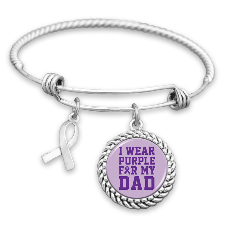 I Wear Purple For My Dad Alzheimer's Charm Bracelet