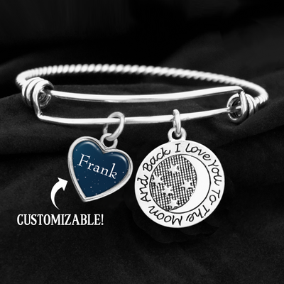Custom Name To The Moon And Back Charm Bracelet
