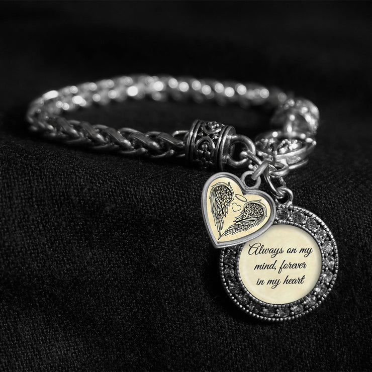 Always On My Mind Forever In My Heart Silver Braided Clasp Charm Bracelet