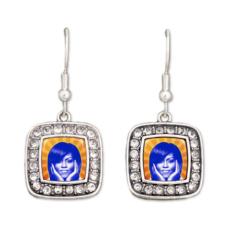 Michelle Obama Crystal Square Earrings