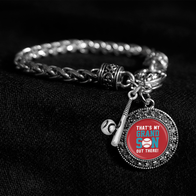 That's My Grandson Out There Silver Braided Clasp Charm Bracelet