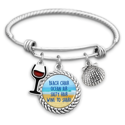 Beach Chair, Ocean Air, Salty Hair, Wine To Share Charm Bracelet