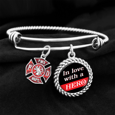 In Love With A Hero Firefighter Charm Bracelet