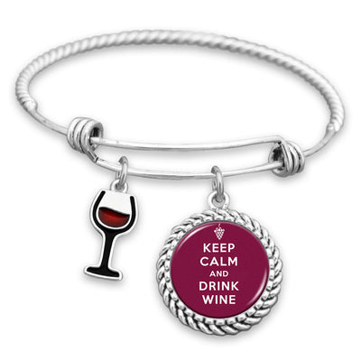 Keep Calm & Drink Wine Charm Bracelet