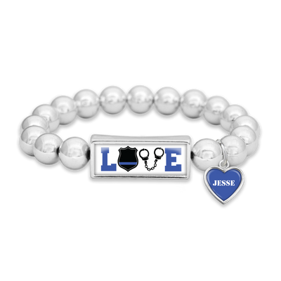 Customizable Police LOVE Icons Silver Bead Bracelet