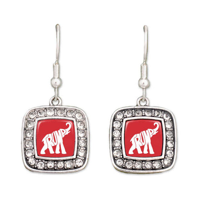 Trump Elephant Crystal Square Earrings