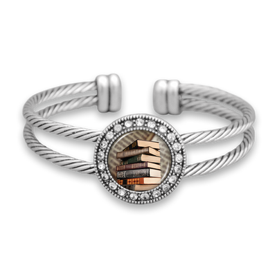 Old Books Crystal Cuff Bracelet