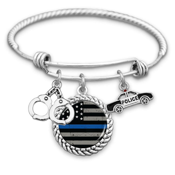 Thin Blue Line Flag Police Car and Handcuffs Charm Bracelet