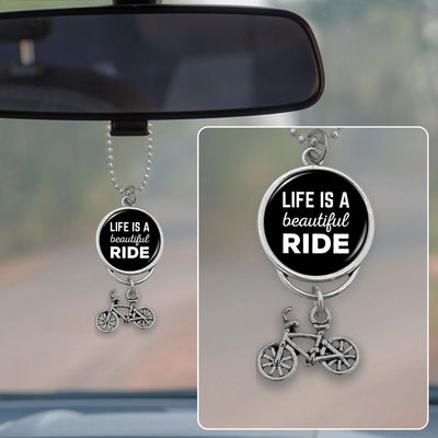 Life Is A Beautiful Ride Bike Rearview Mirror Charm