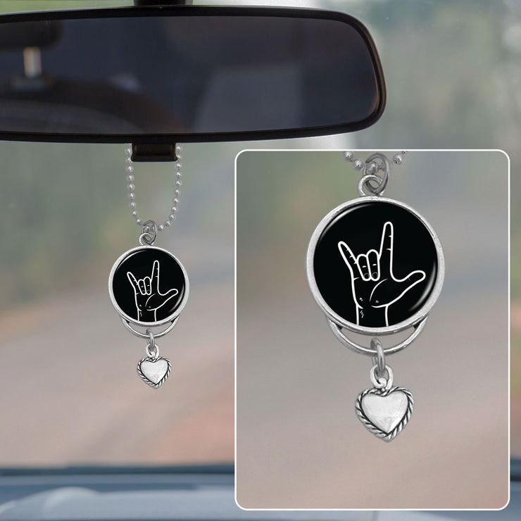 ASL I Love You Hand Rearview Mirror Charm