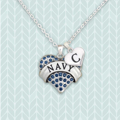 Navy Heart Custom Initial Necklace