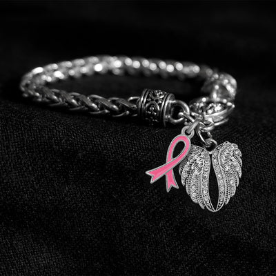 Angel Wings Pink Awareness Ribbon Silver Braided Clasp Charm Bracelet