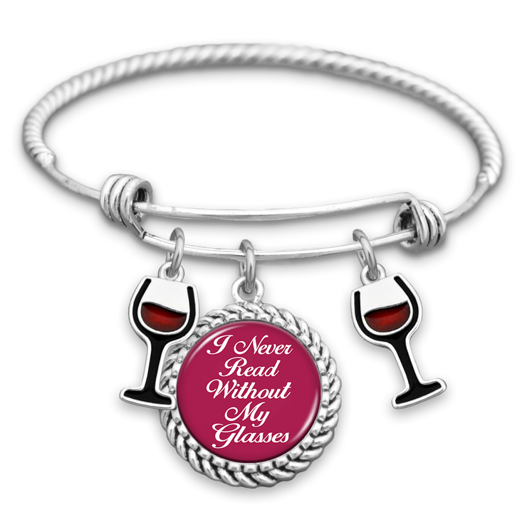 I Never Read Without My Glasses Wine Charm Bracelet