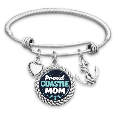 Proud Coastie Mom Charm Bracelet