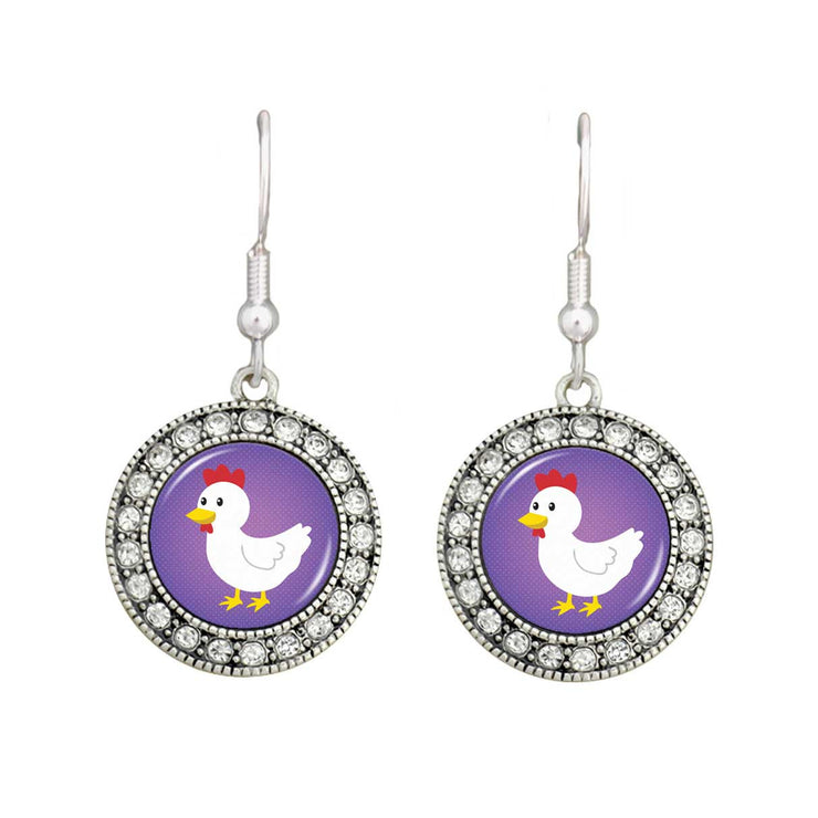 Cute Chicken Crystal Circle Earrings