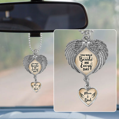 Mom and Dad You Walk Beside Me Wings Rearview Mirror Charm