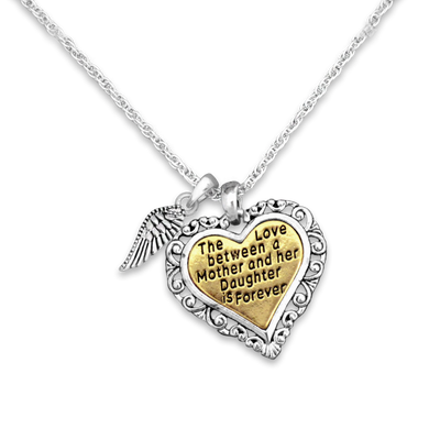 Engraved Mother and Daughter Forever Love Wing Charm Necklace