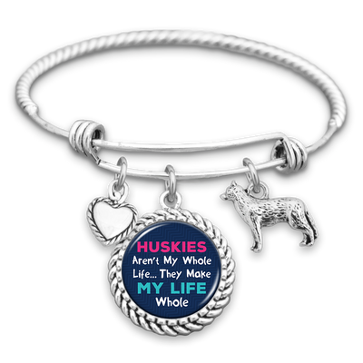 Huskies Make My Life Whole Charm Bracelet
