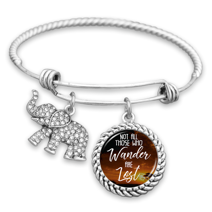 Not All Those Who Wander Are Lost Elephant Charm Bracelet