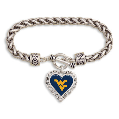 West Virginia Mountaineers Logo Heart Clasp Bracelet