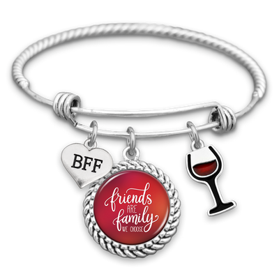 Friends Are Family We Choose Wine Charm Bracelet