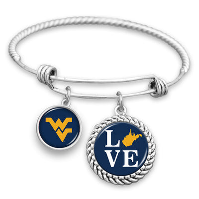 West Virginia Mountaineers Love Charm Bracelet