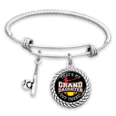 That's My Grand Daughter Out There Softball Charm Bracelet