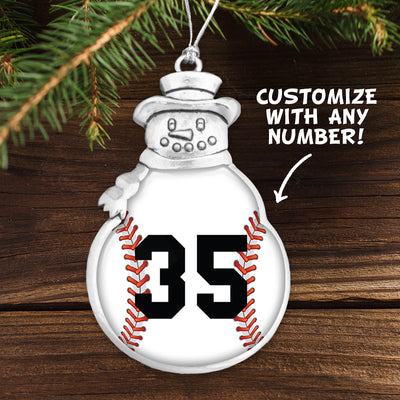 Customizable Baseball Number Snowman Ornament