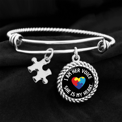 I Am Her Voice Autism Awareness Charm Bracelet