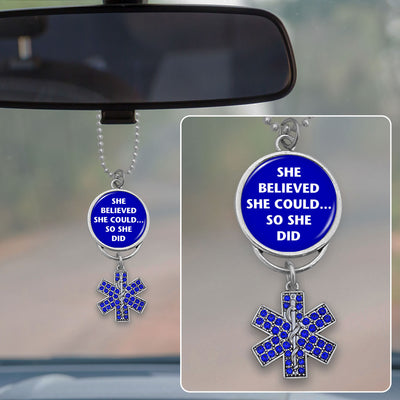 She Believed She Could So She Did Star Of Life Rearview Mirror Charm